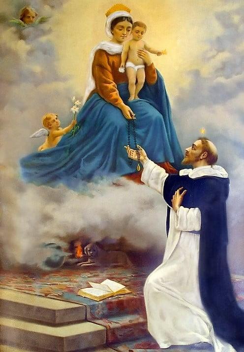 Santo rosario entregado por la Virgen María a Santo Domingo de Guzmán